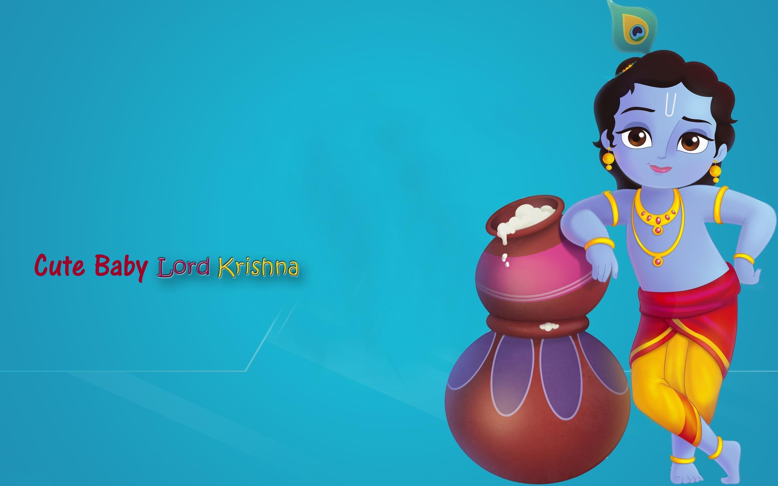 Cute Baby Lord Krishna wallpaper HD on Janamashatami