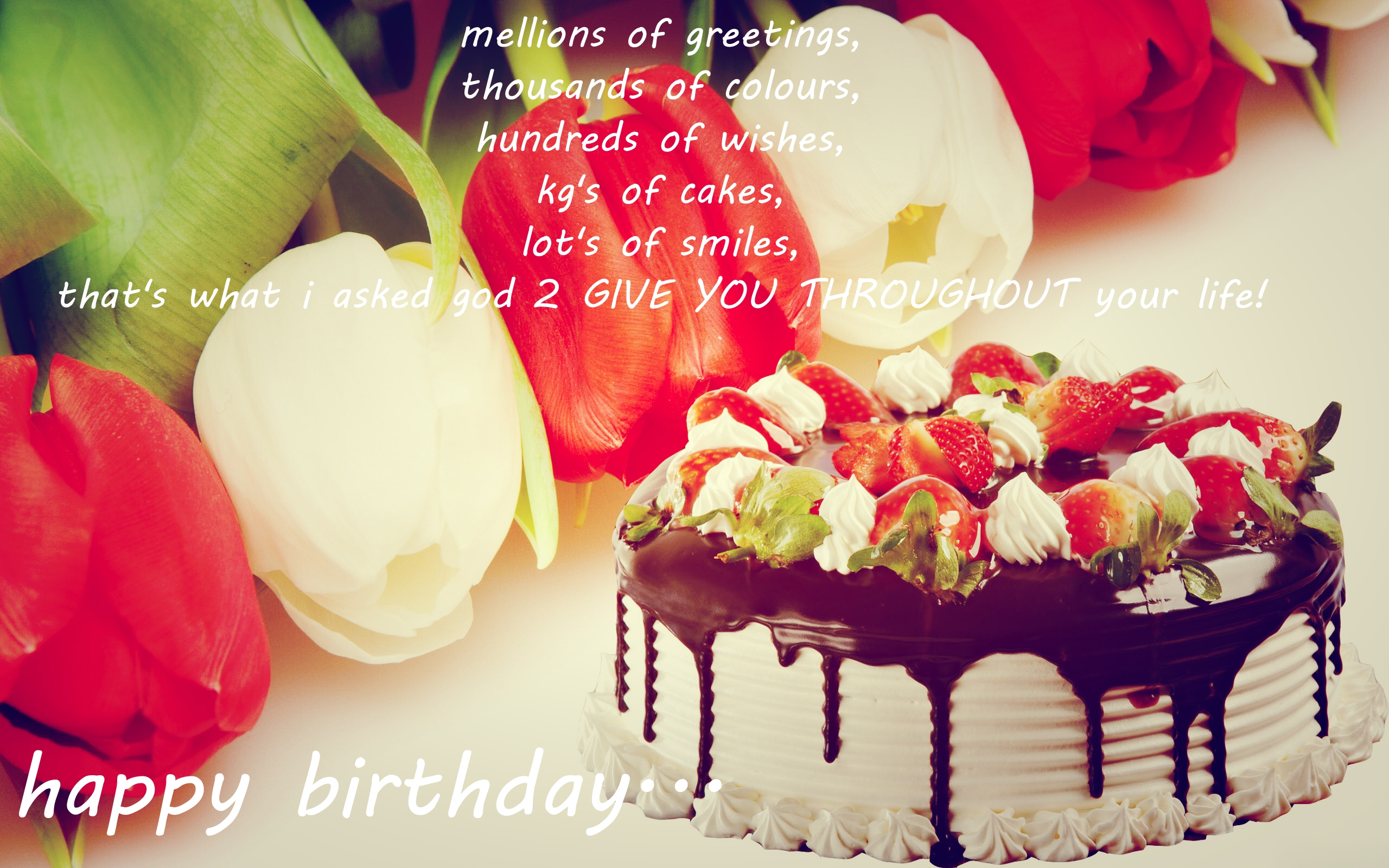 Happy Birthday Quotes Images with Cake & Flowers