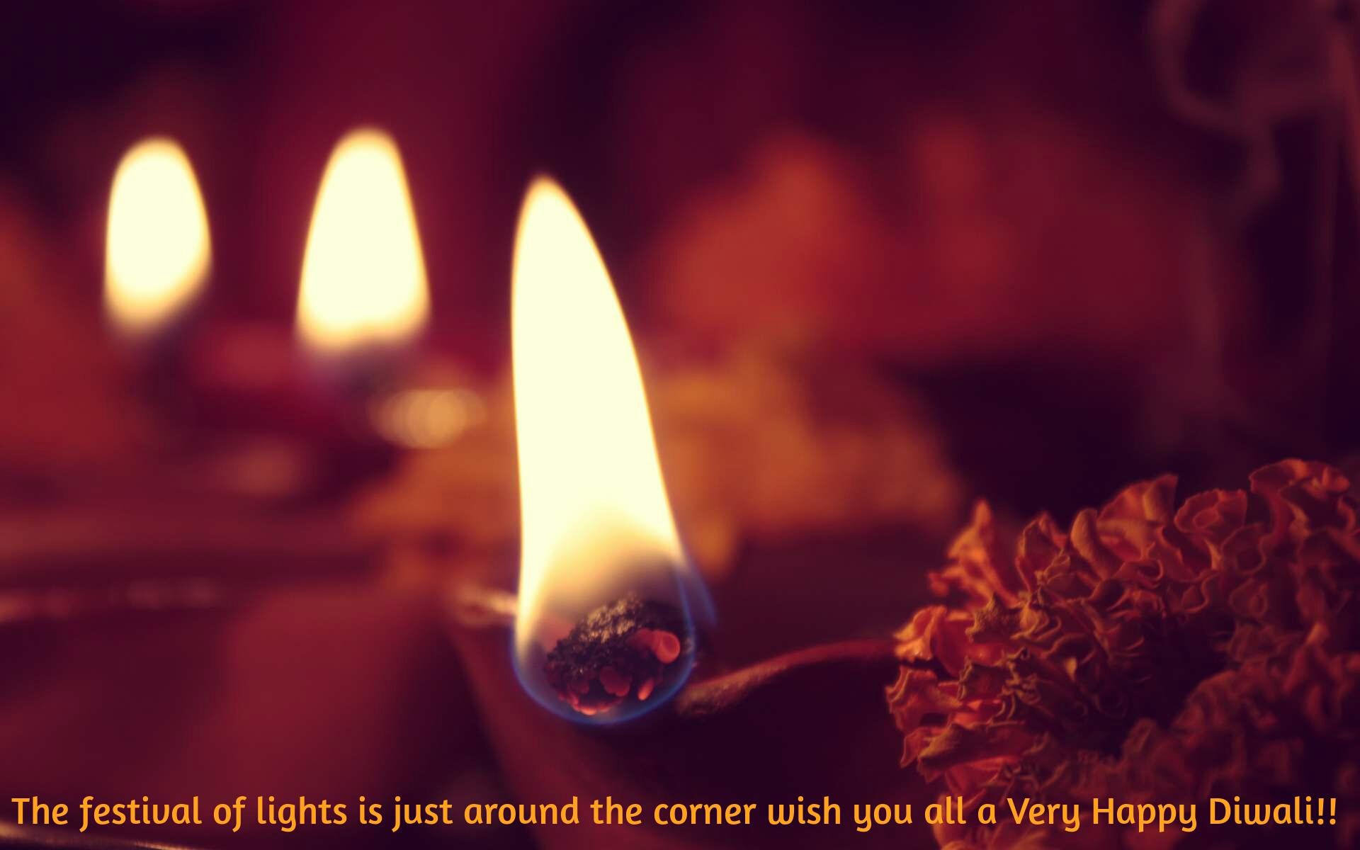 HD Diwali Wallpaper quotes - Light Diyas on Festival of Lights