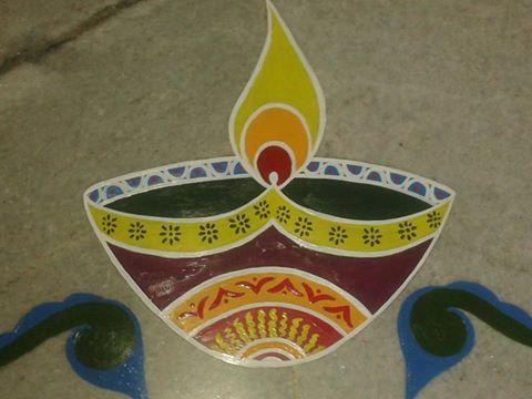 Deepak Rangoli Design for Diwali by Nabanita Ghosh
