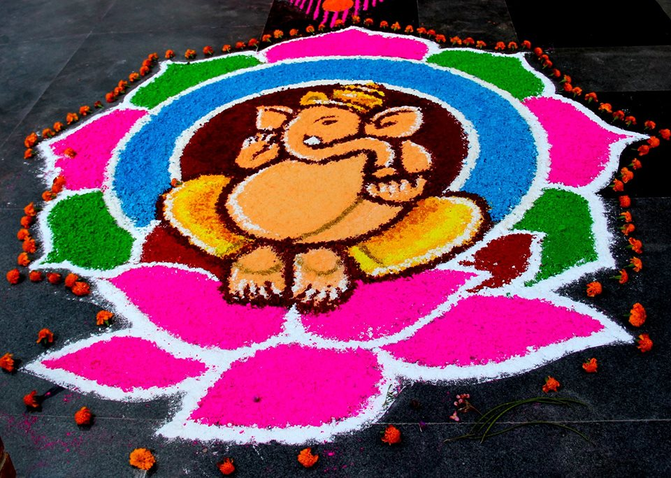 Ganesha Rangoli Design by Shrestha Roopess