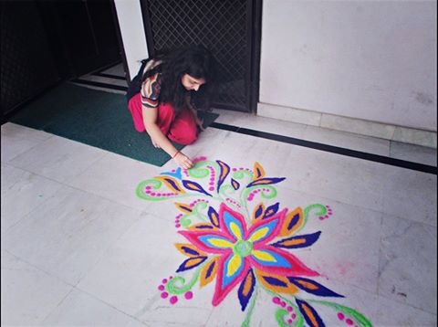 Great colors Rangoli by Aakanksha Rehan