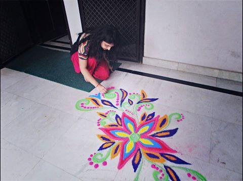 Great colors Rangoli by Aakanksha Rehan