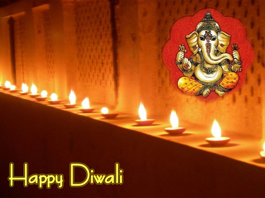 Happy Diwali Beautiful Greeting Card With Ganesh