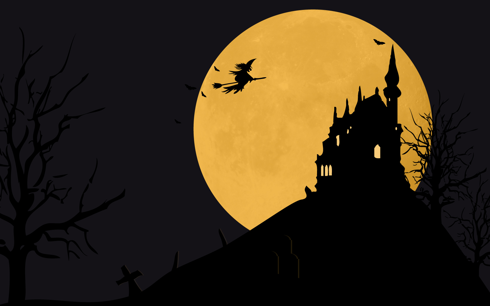 midnight moon halloween hd wallpapers