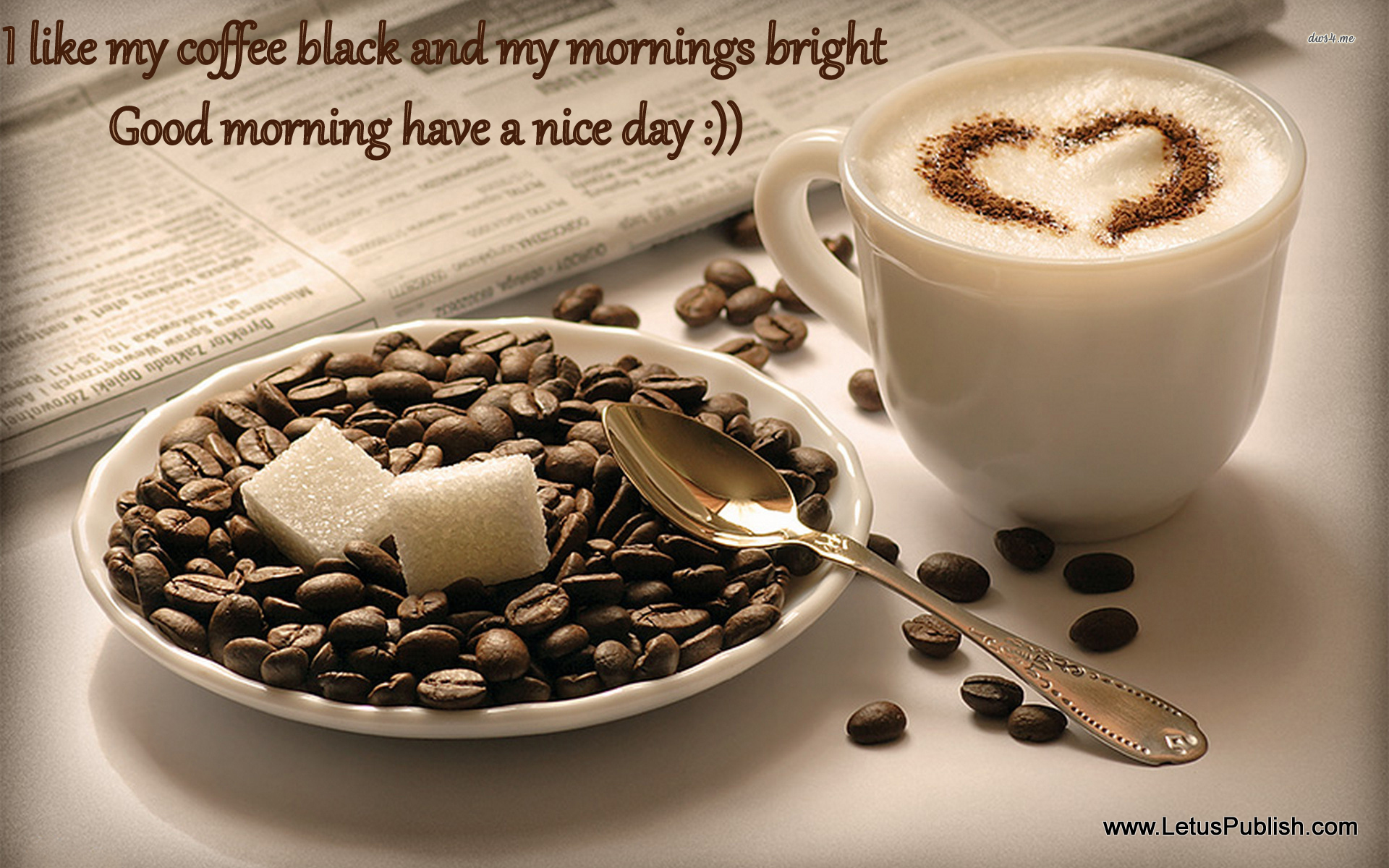 Morning coffee wallpaper with quotes