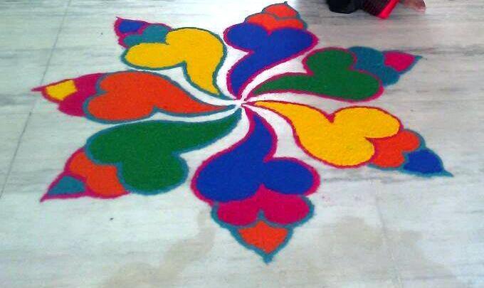 Multi Color Rangoli by Blogger Rupali for Diwali