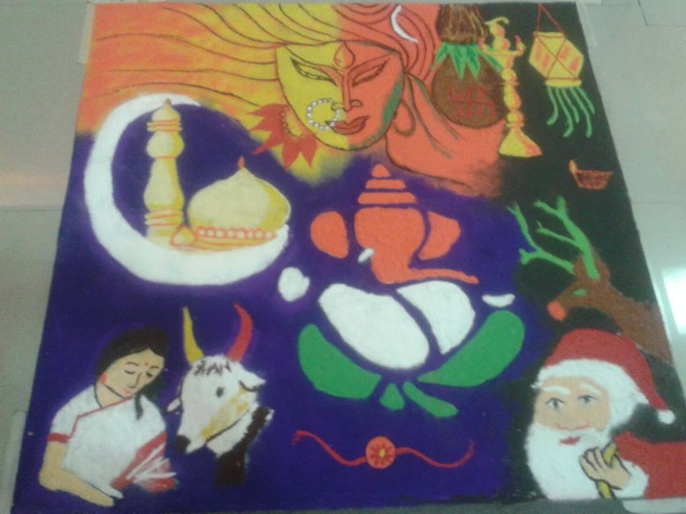 Rangoli Design by Experts - Multi Traditional one by Jolly Naidu