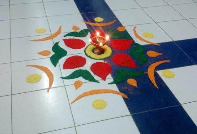 Simple Diya Rangoli by Chandigarh The City Beautiful