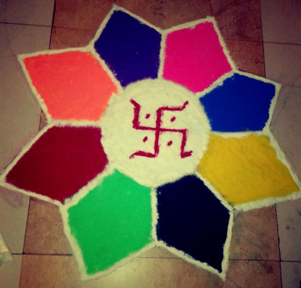 Simple Rangoli Design for beginners created by Savita and Team