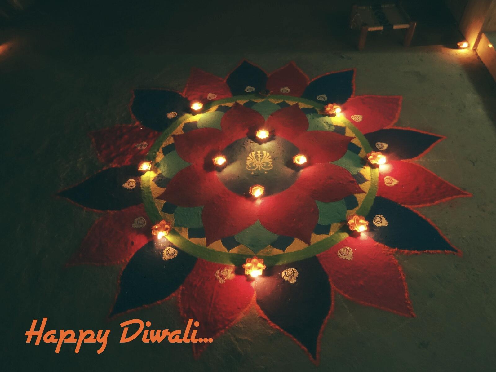 Happy Diwali HD Wallpaper for free - Simple Rangoli Design for Diwali