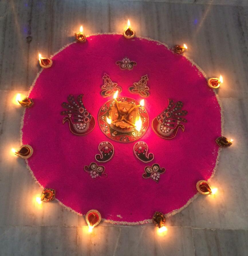 Pink rangoli pictures