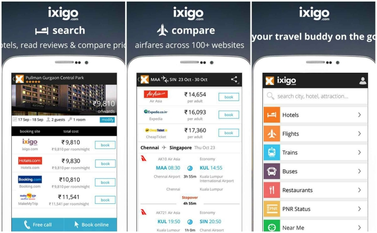 Ixigo App - User Interface