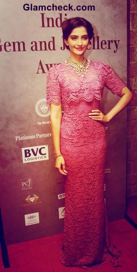 Sonam Kapoor In Pink Gown with Accessories