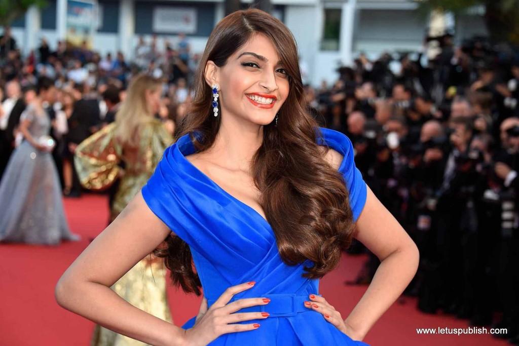 Sonam Kapoor on red Carpet in Blue dress
