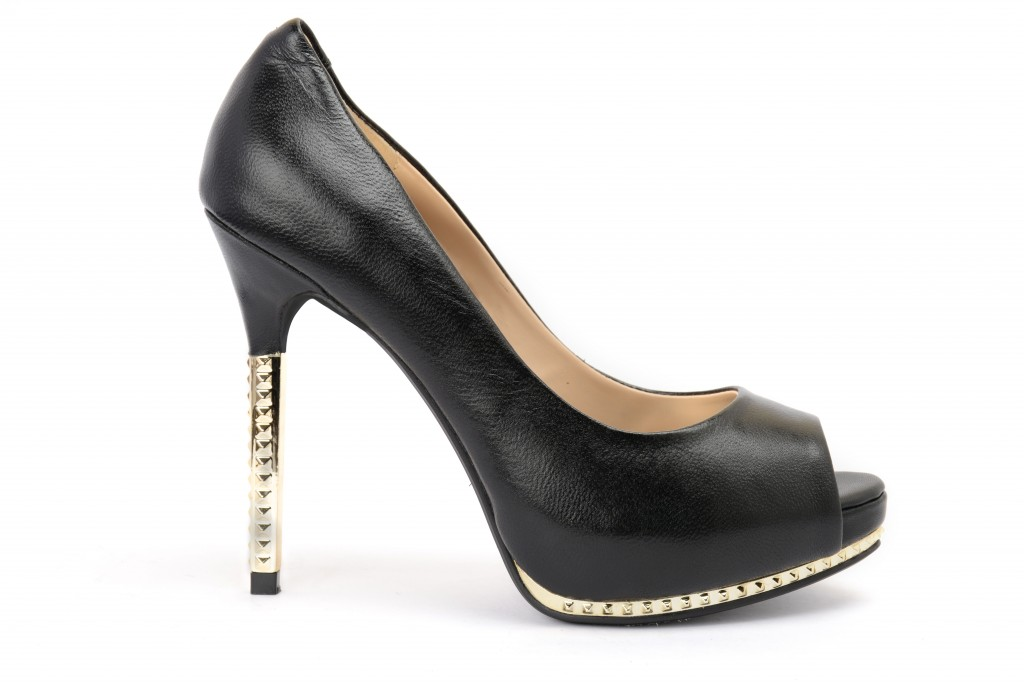 Black leather high heels for party - Heel and Buckle