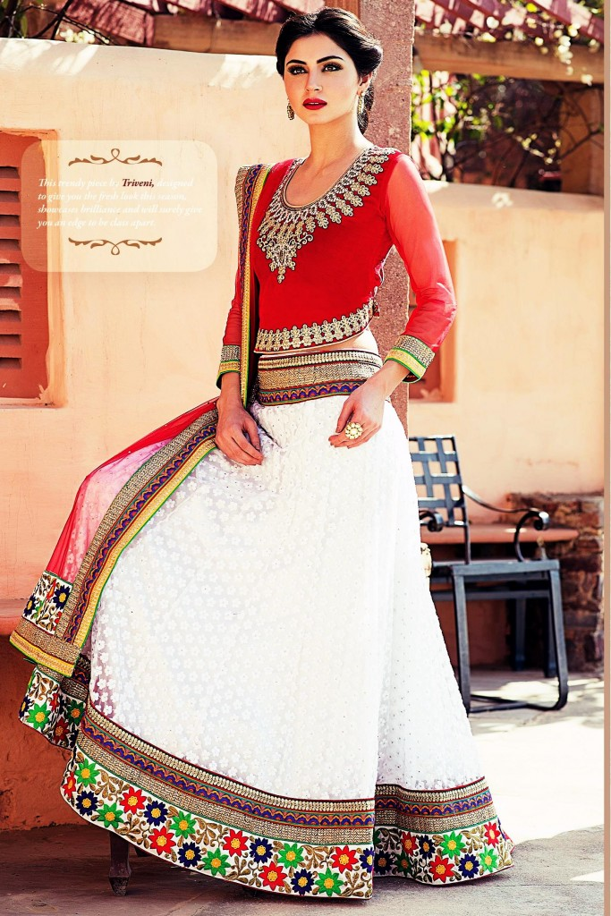 Designer Lehenga Choli White and Red color by Treveni