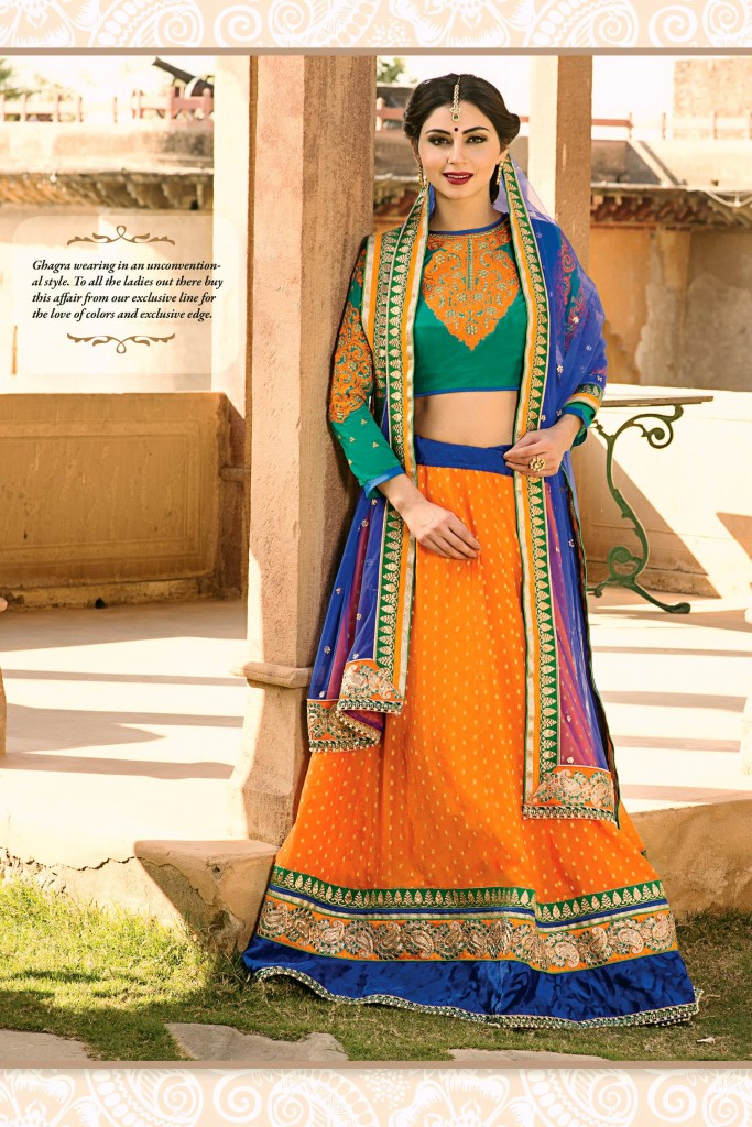 Green and Orange Designer Lehenga 2015