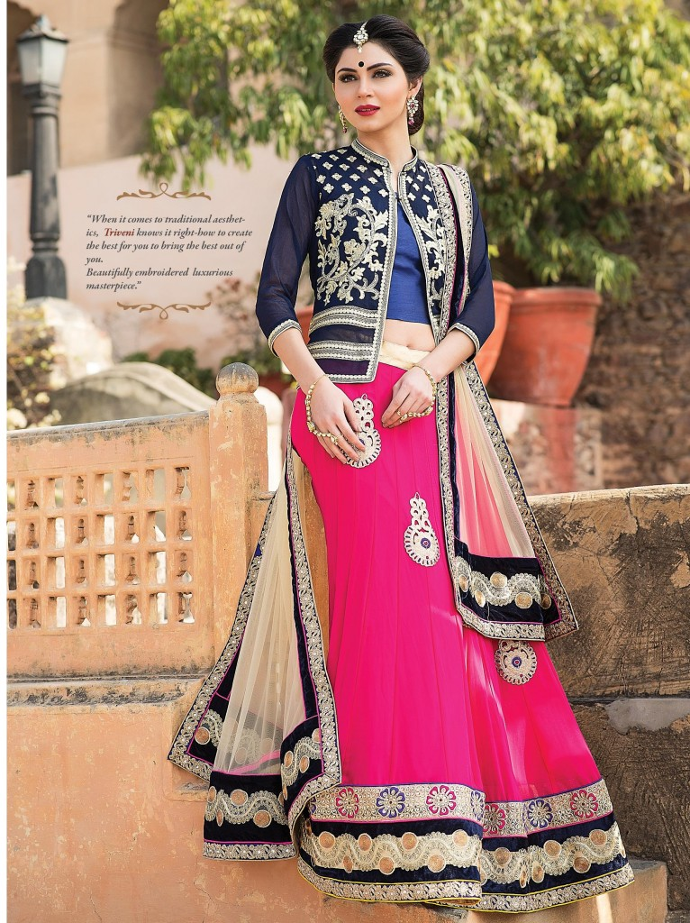Pink And Blue Royal Choli Lehenga for Brides
