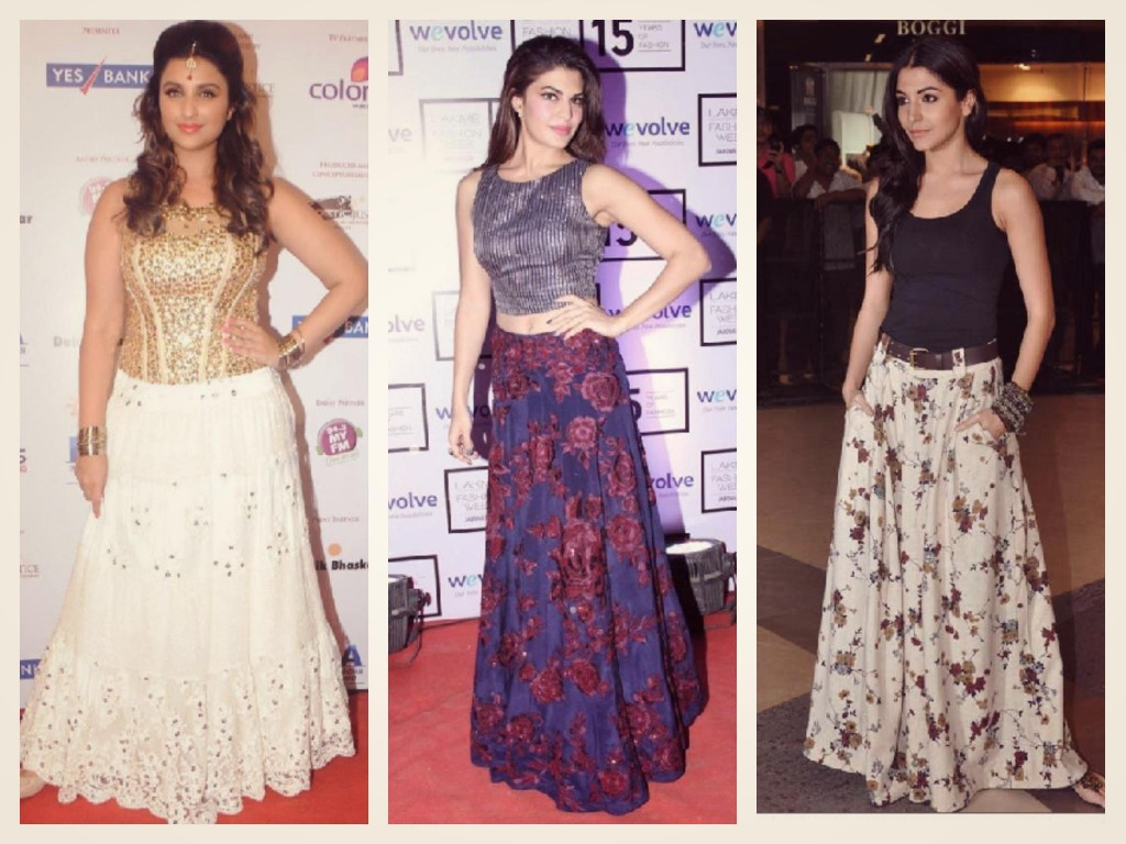 Bollywood Celebs in Long Skirts Jacqueline, Pariniti and Anushka