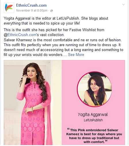 Yogita Aggarwal Indian fashion blogger sharing festival outfit trends at EthnicCrush.com