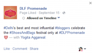 Yogita as Best Indian Blogger by Dlf Promenade