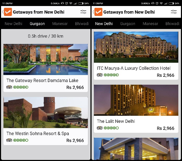 Getaways New Delhi Cleartip app review