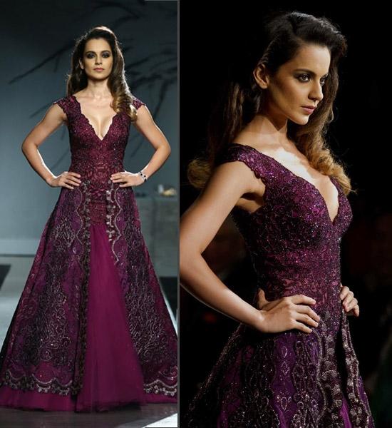 Kangana Ranaut for Manav Gangwani in Purple Gown