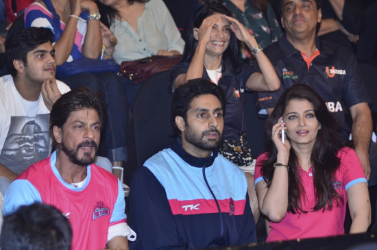 Shahrukh , Abhishek and Aishwarya watching Pro Kabaddi