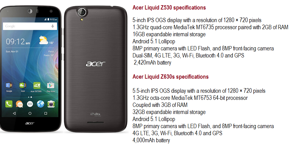 Acer Launched Liquid Z530, Z630s with MannersAli - Let Us