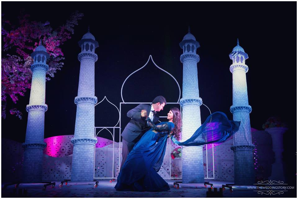 Couple poses for wedding photography
