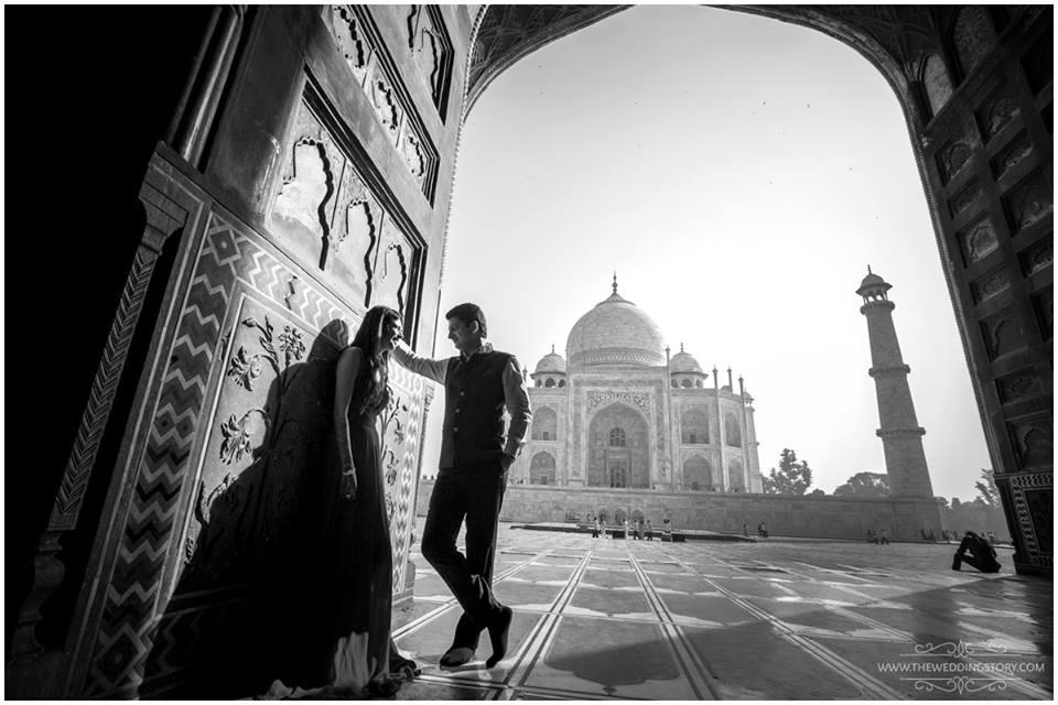Indian wedding couple poses