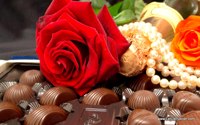 Valentine's Day Roses With Chocalate HD Image