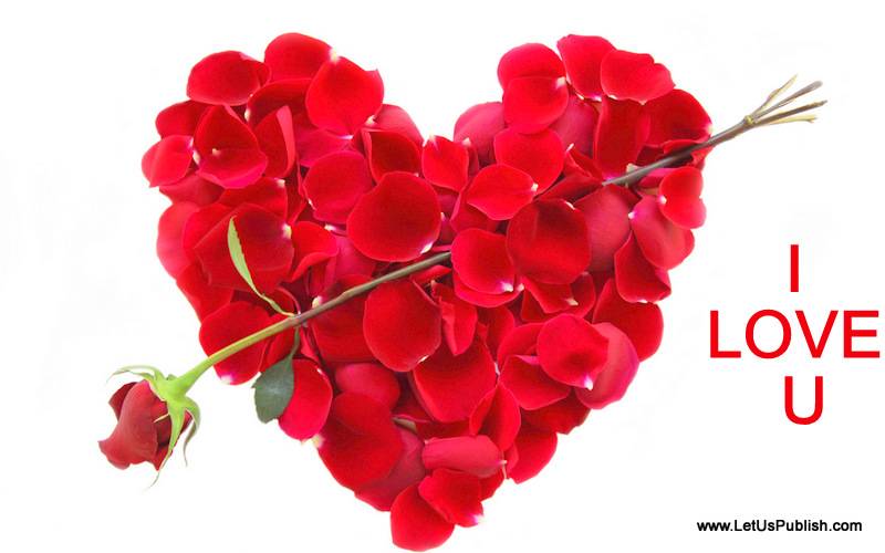 Romantic Roses Heart HD Image with I Love you