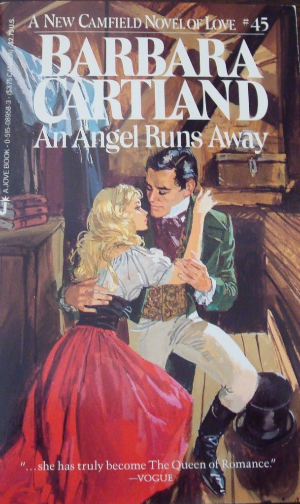 An Angel Runs Away is #45 in the Camfield series and was published in May 1987 by Jove for Barbara Cartland