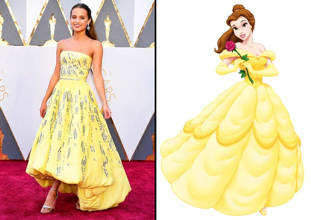 Alicia Vikander in Disney Princess Gown at Oscars 2016