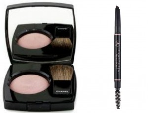 Chanel powder blush, Anastasia Beverly Hills eyebrow pencil
