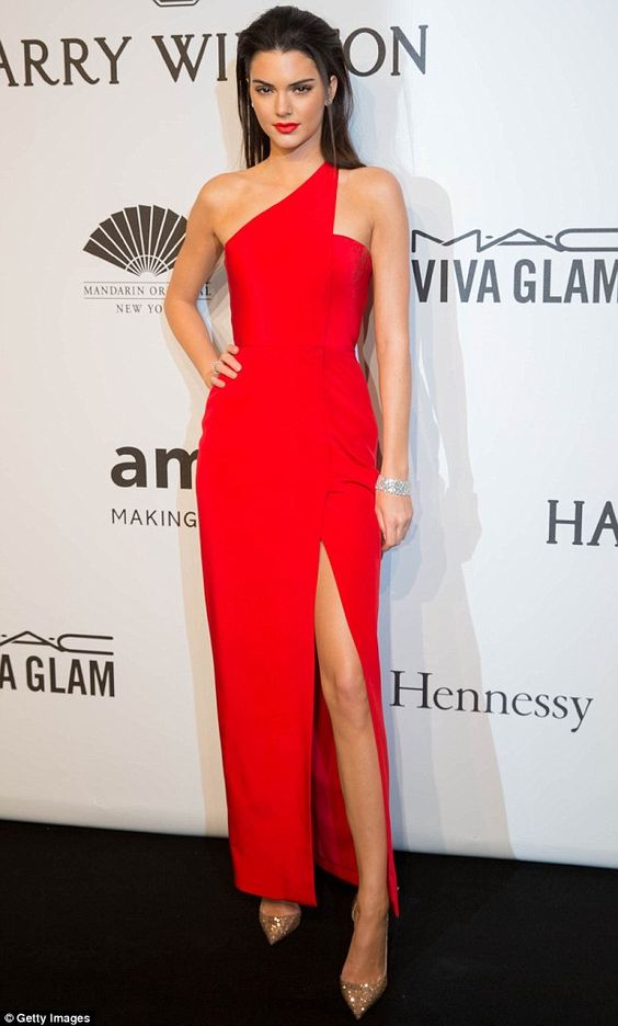 Kendall Jenner in Red Hot One Shoulder Gown
