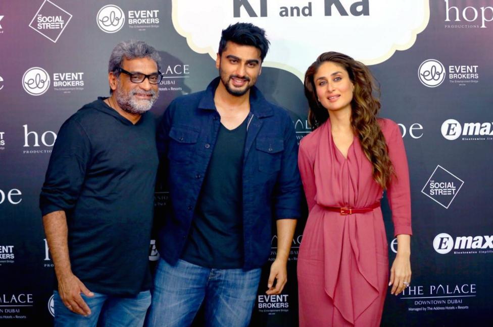 R. Balki, Arjun Kapoor and Kareena Kapoor at Ki and Ka promotions