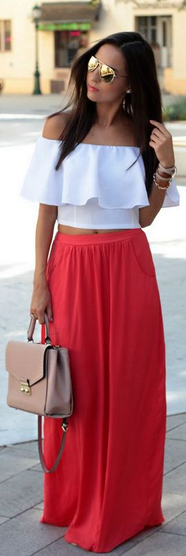 off-shoulder top with a maxi skirt