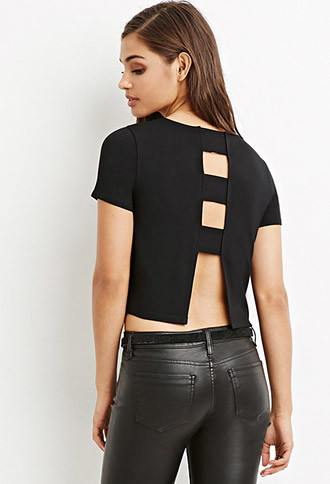 sexy back black crop top forever 21