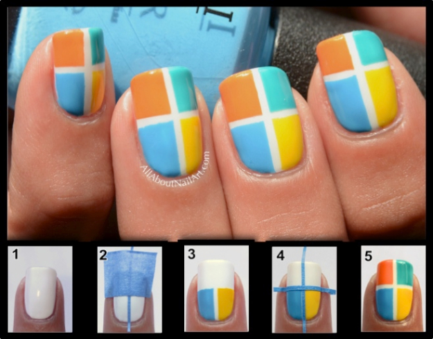 Colorblock nail art