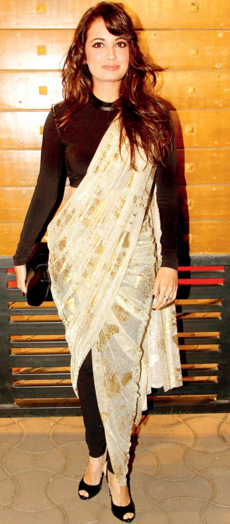 Dia Mirza in Pant Style Saree