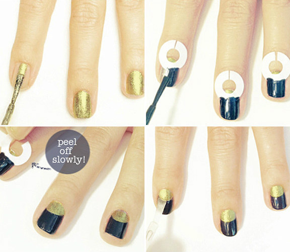 Half moon nail art with scotch tape