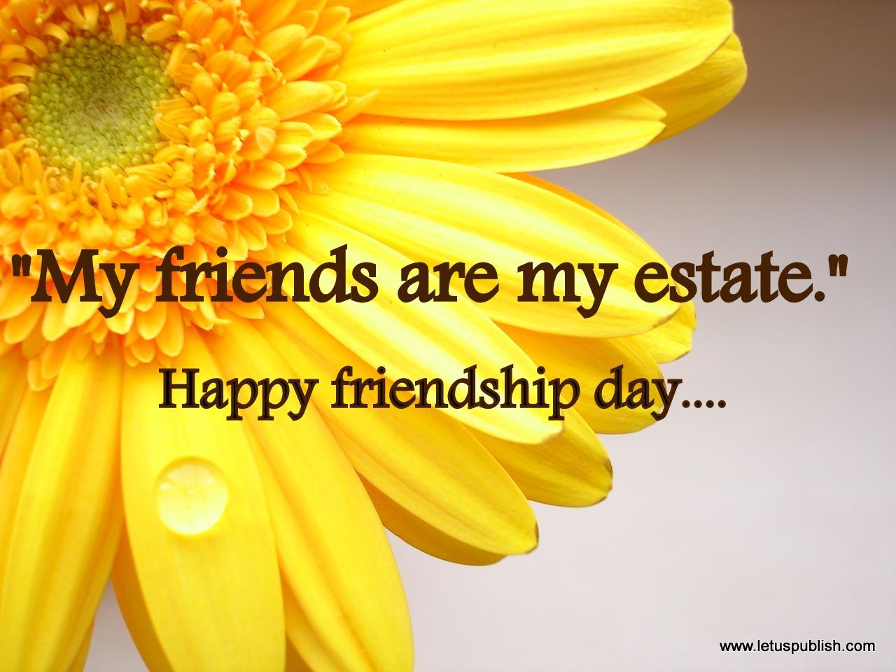 Happy friendship day yellow flower wallpaper