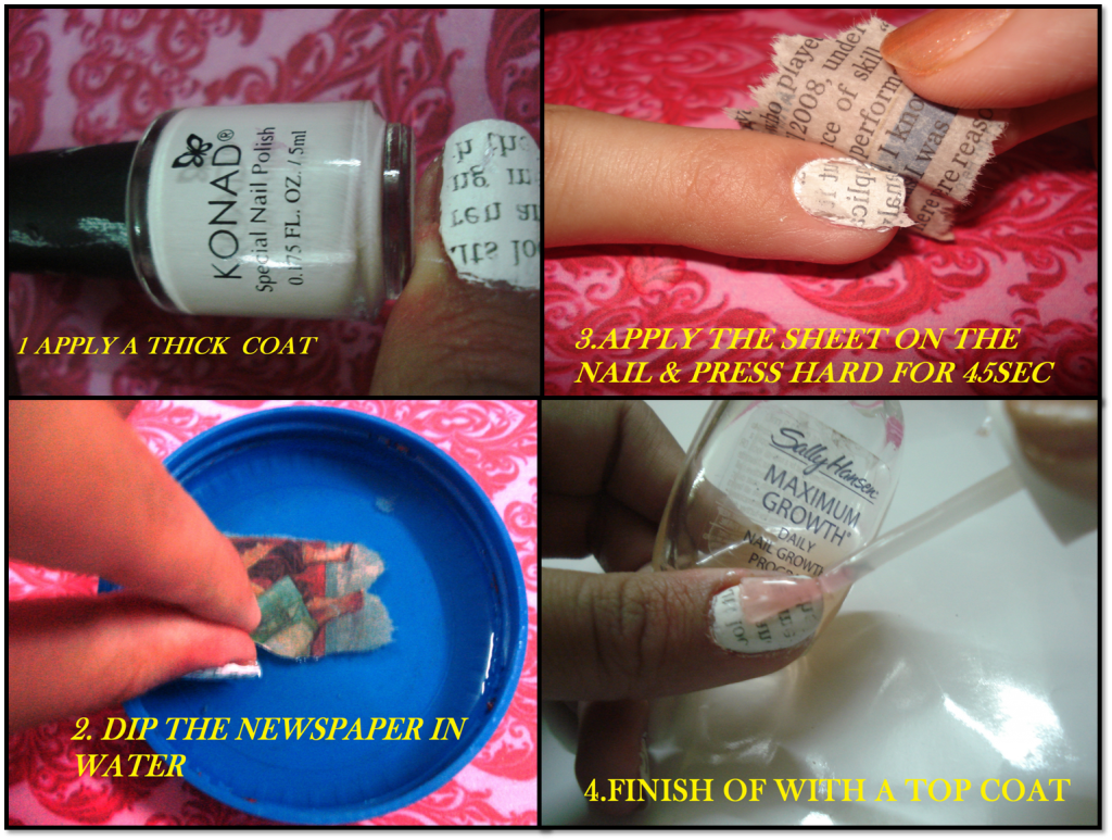Diy cool and easy nail art ideas for summers let us publish newspaper nail art prinsesfo Choice Image