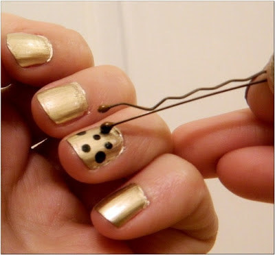 Polka nail art using bobby pin