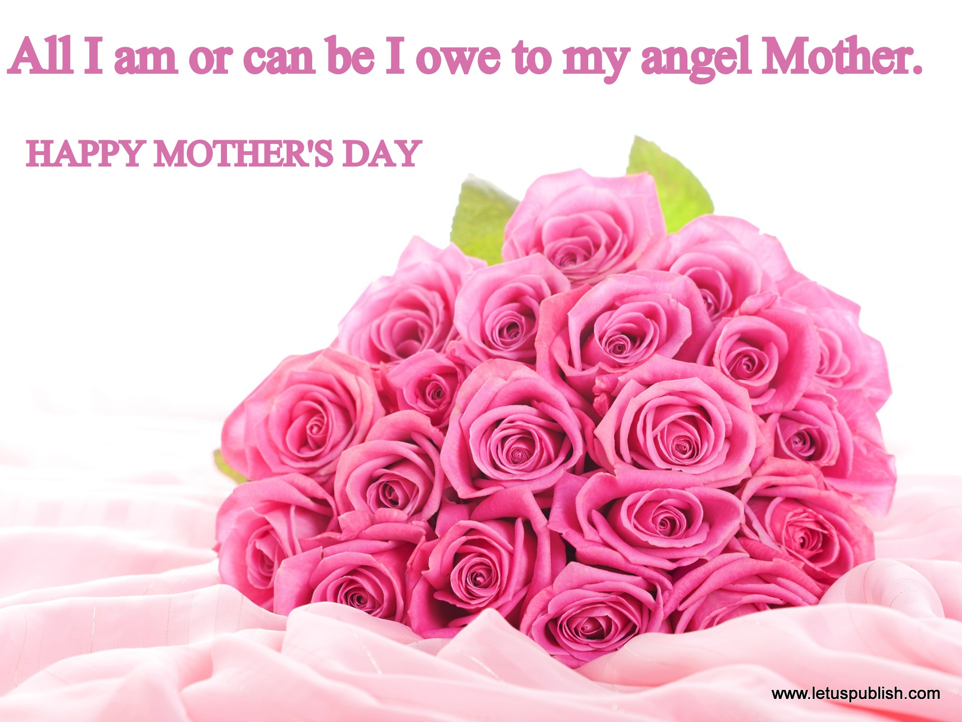 Mother's day hd wallpaper with Pink Roses and quotes