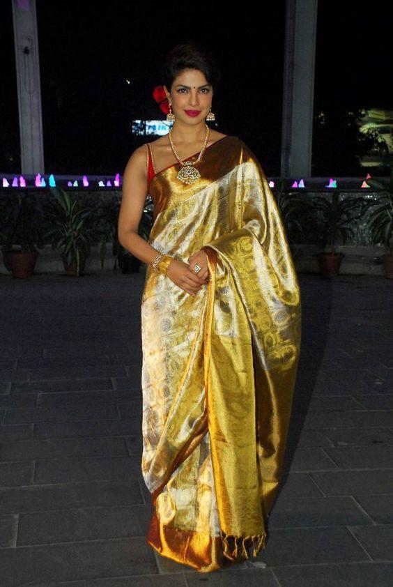 Priyanka Chopra in silk saree- hourglass body shape