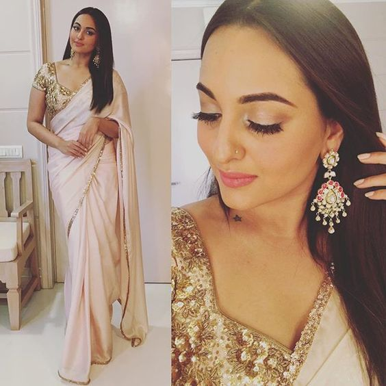 Sonakshi Sinha in saree - Apple body shape